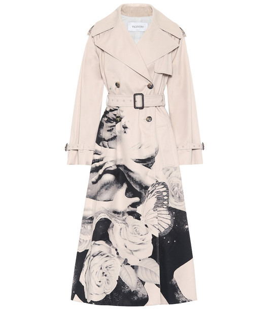 Valentino Printed cotton trench coat in beige