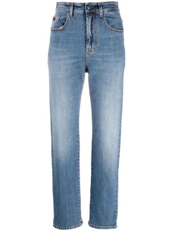 Palm Angels logo-print straight-leg jeans in blue