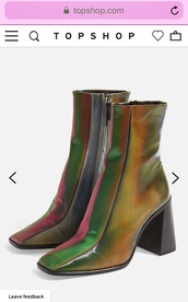 shoes,holographic,boots square toe,square toe boots,boots,ankle boots,sock boots,shiny boots,topshop boots,topshop,90s style,90s boots,90's shoes,90s vintage,vintage shoes,grunge