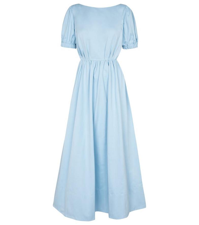 Staud Alix cotton-blend faille maxi dress in blue