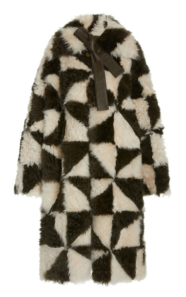 Ulla Johnson Margot Two-Tone Shearling Patchwork Coat in black