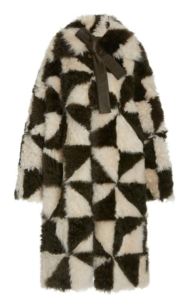 Ulla Johnson Margot Two-Tone Shearling Patchwork Coat in black