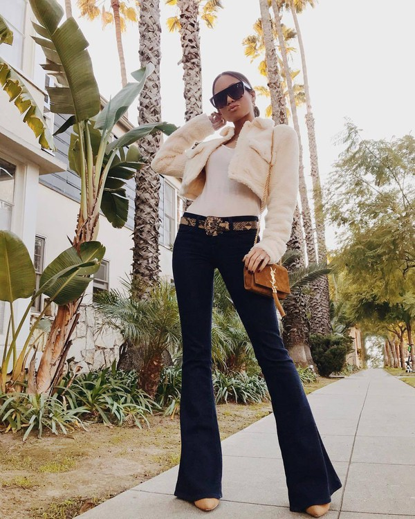jacket cropped jacket flare jeans ysl bag brown bag brown shoes white top sunglasses