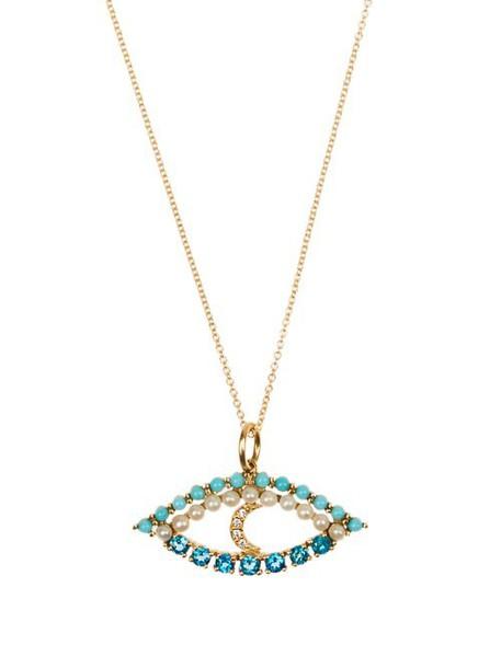 Ileana Makri - Diamond, Apatite, Turquoise & Pearl Necklace - Womens - Yellow Gold