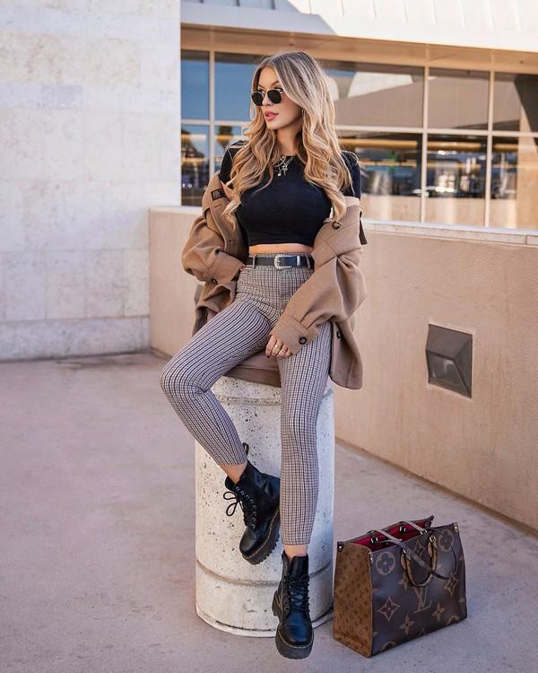 pants plaid pants ankle boots black boots louis vuitton bag coat black top