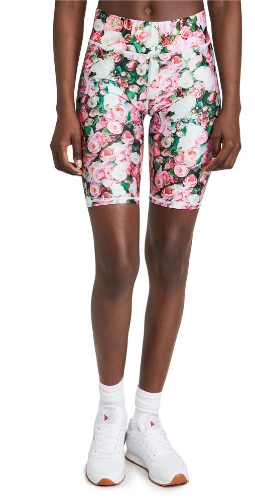 Terez Floral Bike Shorts in green / rose