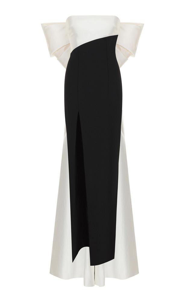 Rasario Bow-Detail Silk-Blend Gown in black / white