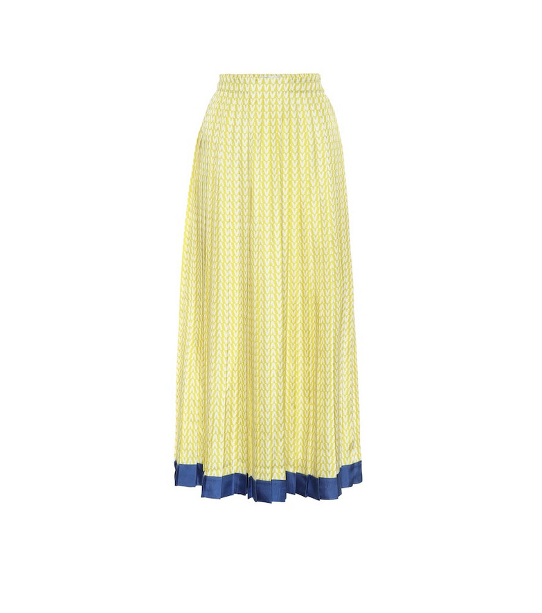Valentino Exclusive to Mytheresa – Printed silk-twill midi skirt in yellow