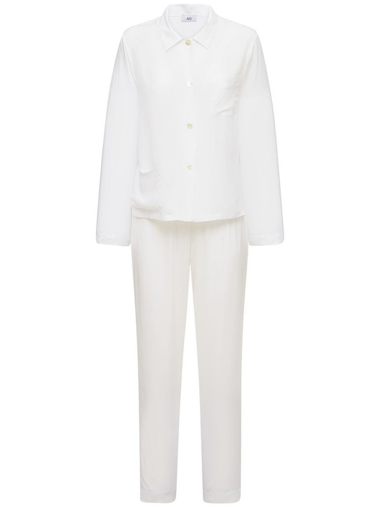 AG Silk Blend Satin Pajama Set in white