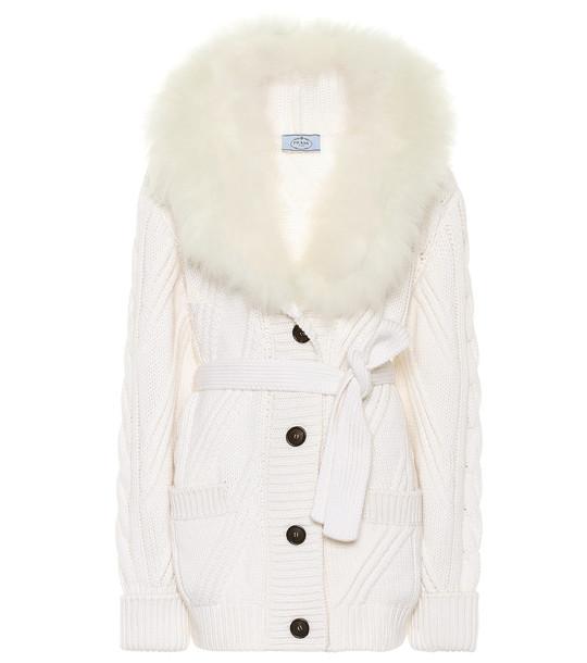 Prada Fur-trimmed cashmere cardigan in white