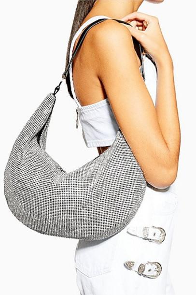 Topshop Saskia Diamante Slouch Bag - Silver