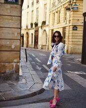 skirt,midi skirt,floral skirt,floral shirt,sandal heels
