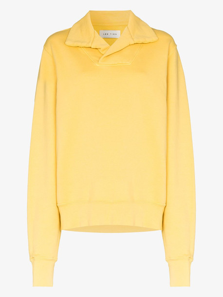 Les Tien collared cotton sweater in yellow