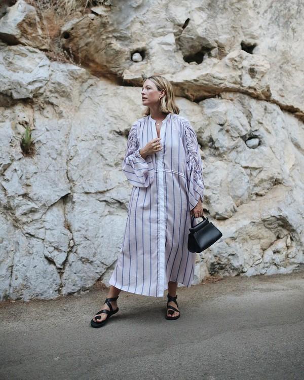 bag black bag handbag maxi dress striped dress long sleeves shirt dress black sandals flat sandals