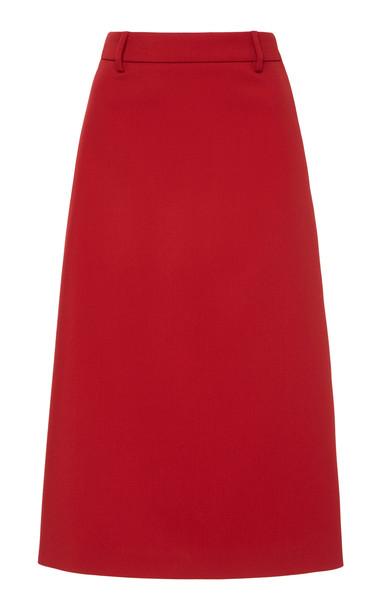 Prada Contrast Stripe Midi Skirt in red