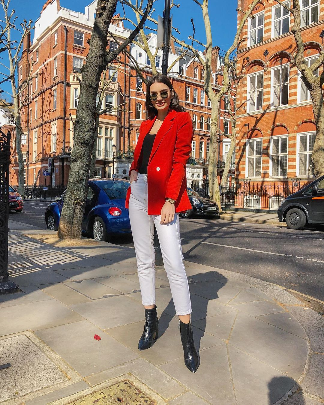 jacket blazer white jeans high waisted jeans ankle boots black boots black top