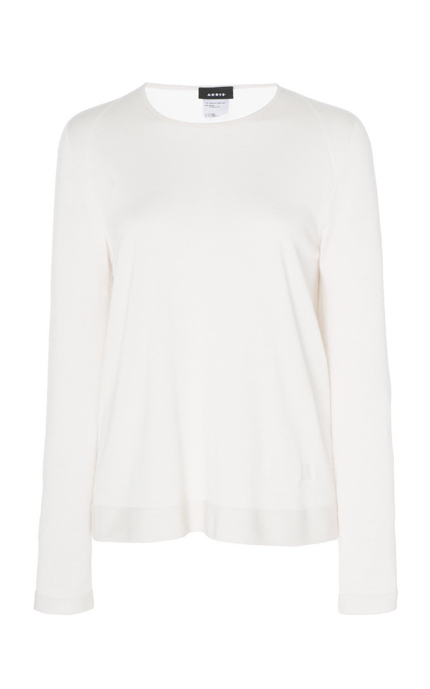 Akris Cashmere And Silk-Blend Ribbed Knit Sweater in neutral