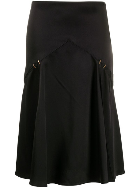 Versace slash detail satin midi skirt in black
