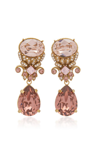 Dolce & Gabbana Brass And Glass Drop Earrings in pink