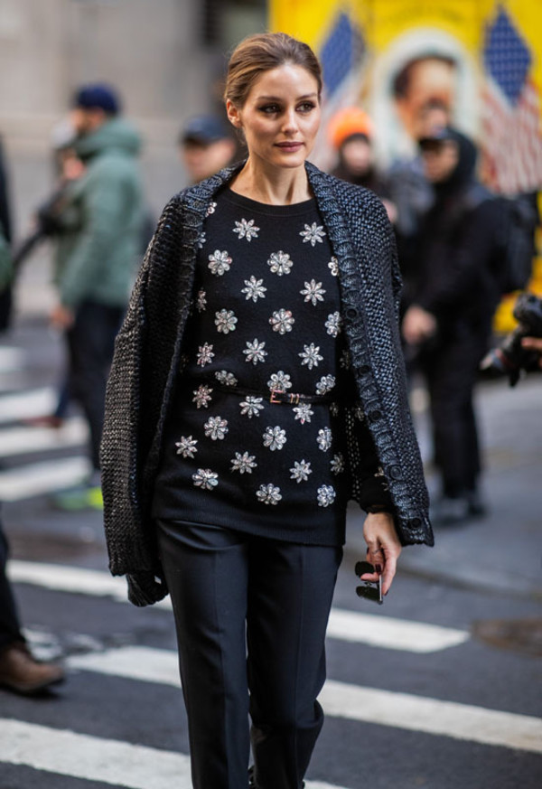sweater floral streetstyle fashion week blogger olivia palermo