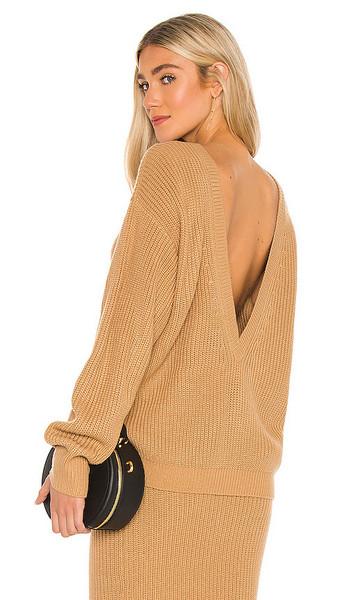 Callahan V Back Sweater in Tan in camel