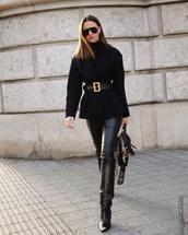 shoes,black boots,isabel marant,black leather pants,black bag,black blazer,black belt,black turtleneck top