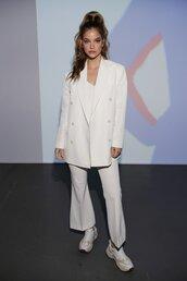 top,barbara palvin,all white everything,pants,blazer,suit