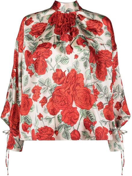 GANNI rose pattern tied cuff blouse - Neutrals