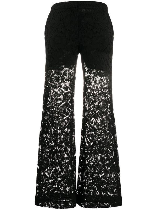Valentino wide-leg lace trousers in black