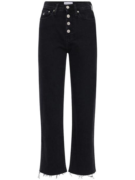 CALVIN KLEIN JEANS Cropped Cotton Denim Jeans in black