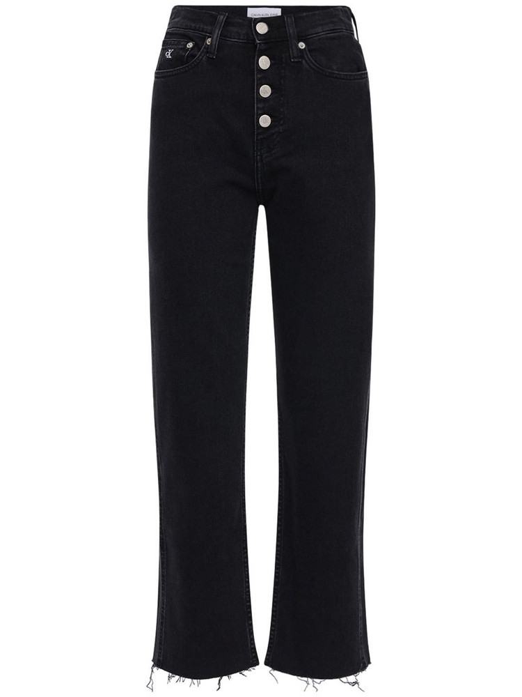 CALVIN KLEIN JEANS Cropped Cotton Denim Jeans in black