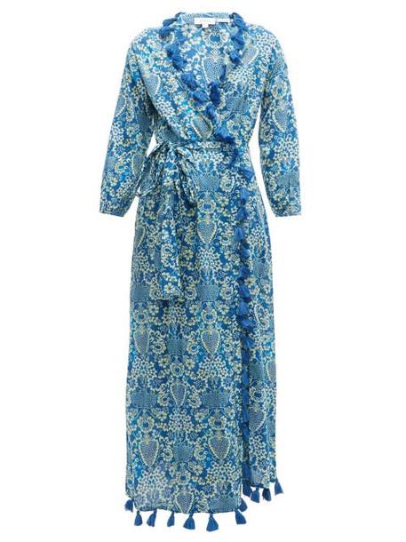 Rhode - Lena Tassel Trimmed Floral Print Cotton Dress - Womens - Blue Print
