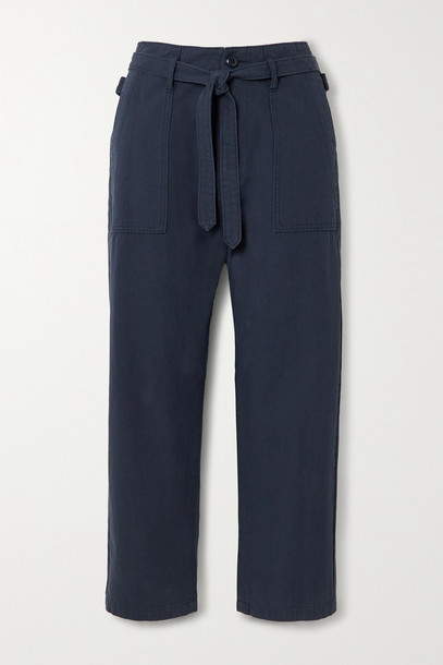 THE GREAT. THE GREAT. - The Convertible Belted Cotton Straight-leg Pants - Blue