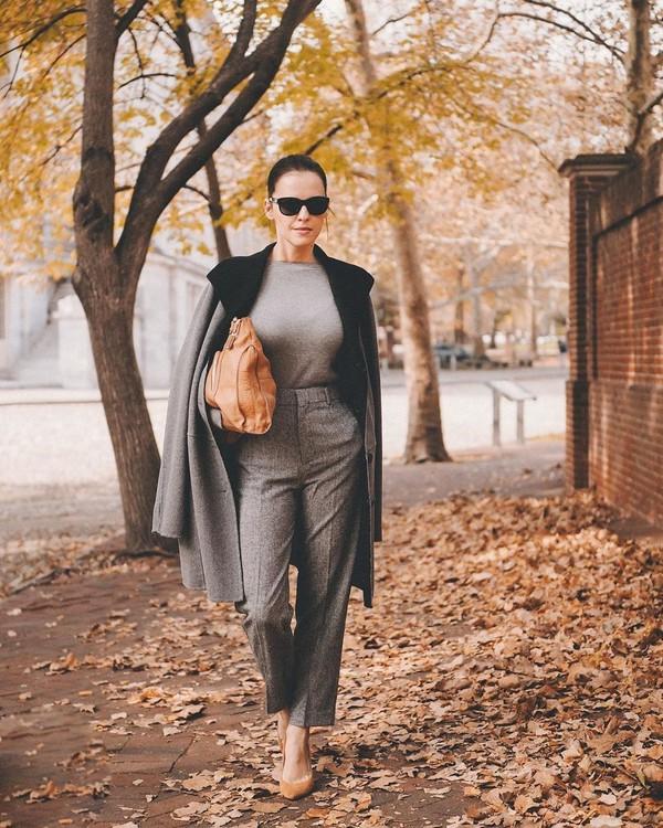 pants straight pants high waisted pants pumps sweater grey coat bag