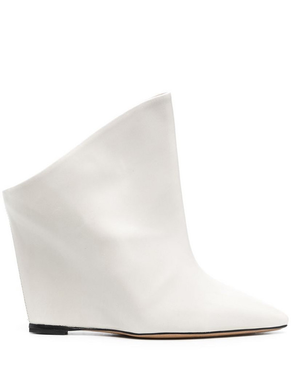 Isabel Marant 110 mm pointed toe ankle boots in white