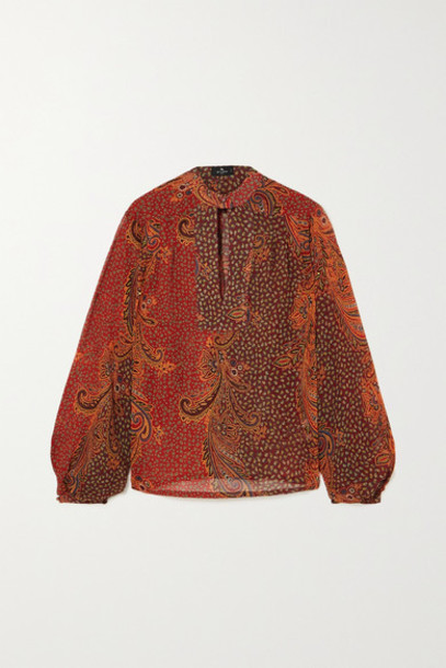 Etro - Paisley-print Silk Crepe De Chine Blouse - Red