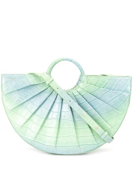 DLYP pleat crocodile tote bag in green