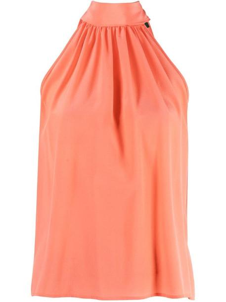 Jejia halterneck silk blouse in orange