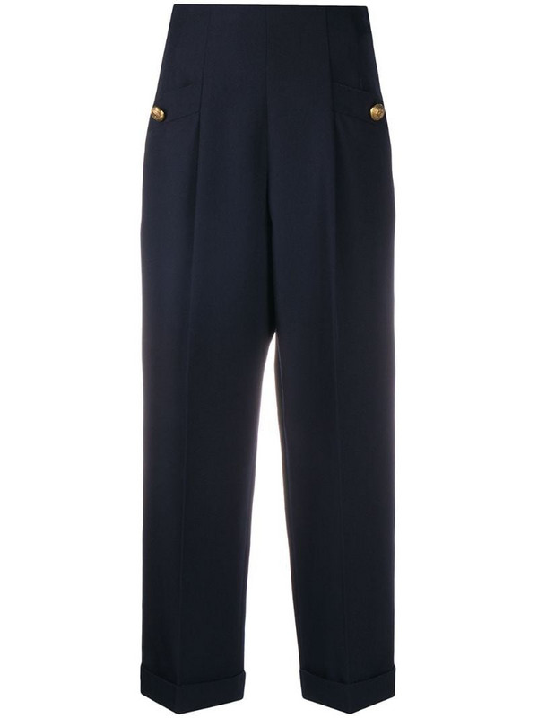 Sandro Paris Sieny high waisted trousers in blue