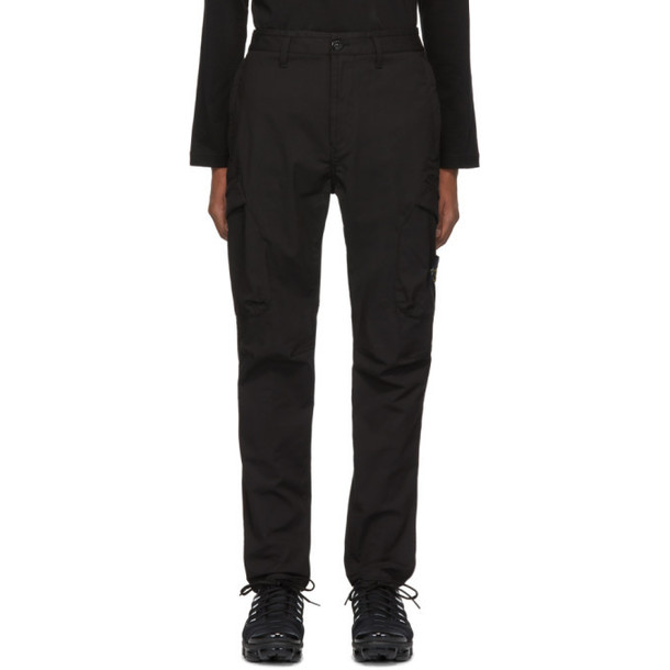 Stone Island Black Bi Stretch Cargo Pants