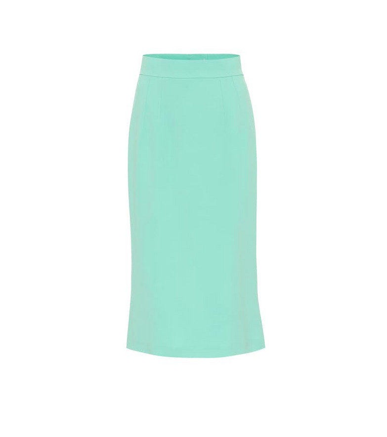 Dolce & Gabbana High-rise crêpe midi skirt in green