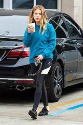 pants,ashley benson,celebrity,casual,leggings,sweatshirt