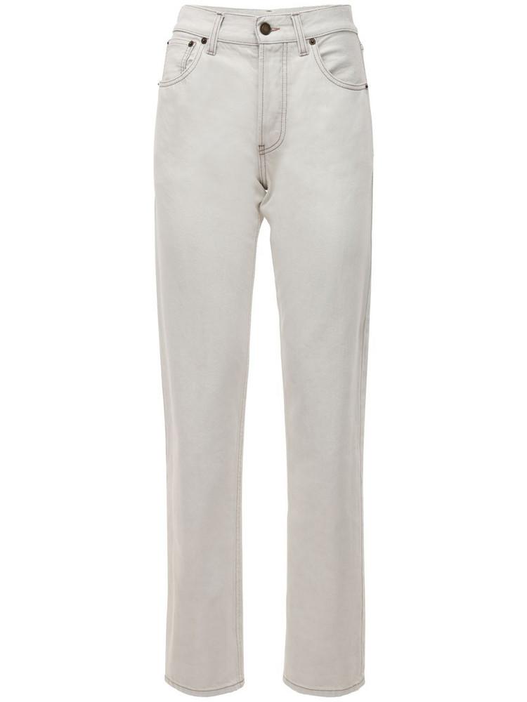 SAINT LAURENT Cotton Denim Straight Leg Jeans in white