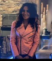 jacket,metalic pink biker jacket