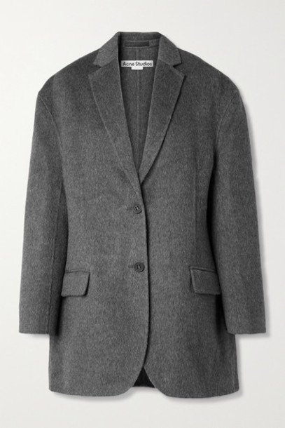 Acne Studios - Oversized Mélange Brushed Wool And Alpaca-blend Blazer - Anthracite