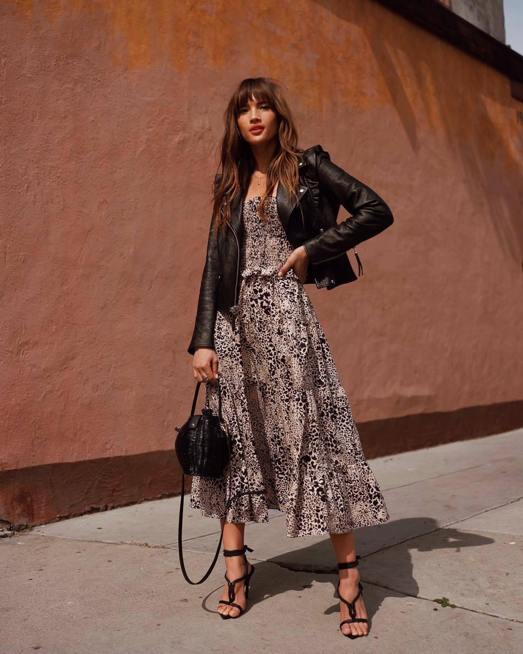 dress maxi dress leopard print black sandals black bag black leather jacket spring outfits spring dress blogger blogger style rocky barnes instagram sandals