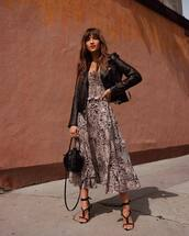 dress,maxi dress,leopard print,black sandals,black bag,black leather jacket,spring outfits,spring dress,blogger,blogger style,rocky barnes,instagram,sandals