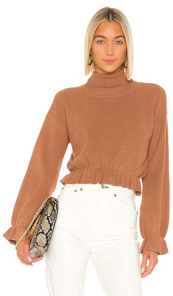 MINKPINK All My Friends Frill Jumper in Tan