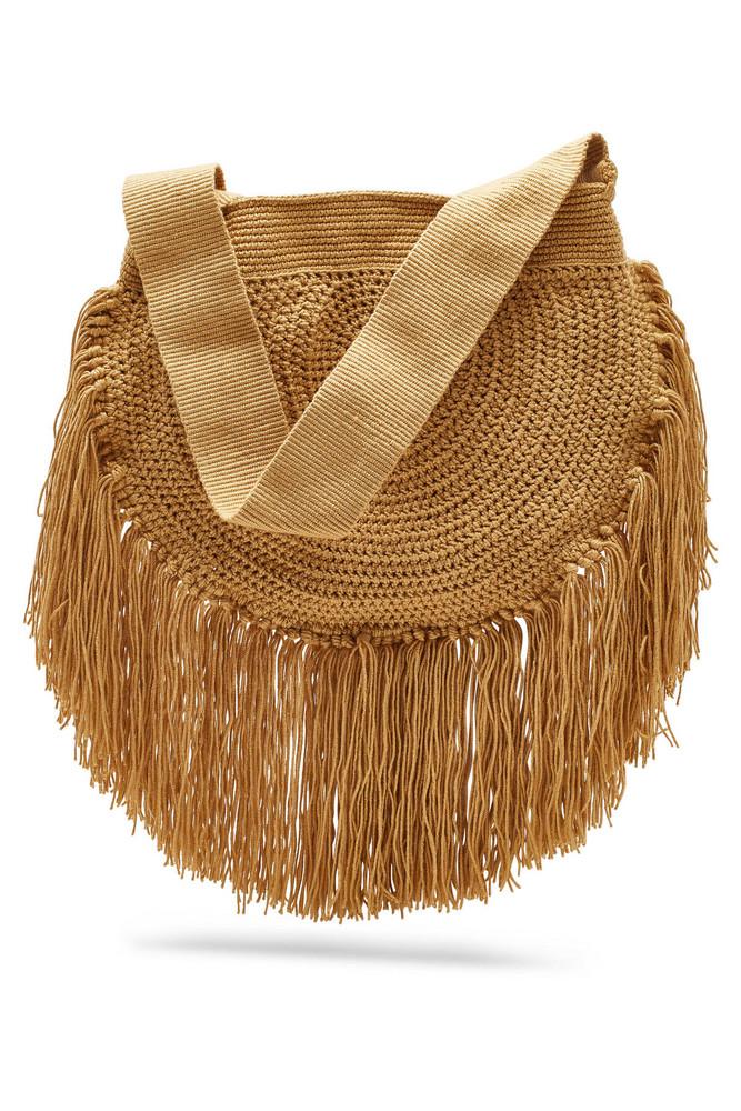 Soraya Hennessy Fringe Boho Crochet Shoulder Bag  in beige