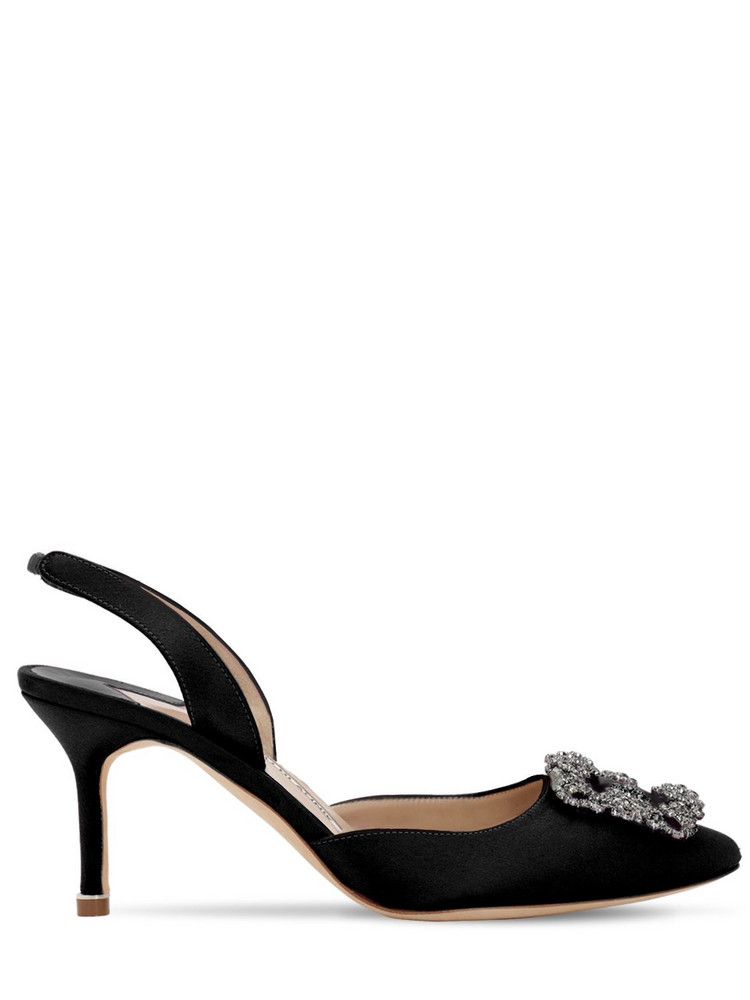 MANOLO BLAHNIK 70mm Hangisli Satin Pumps in black